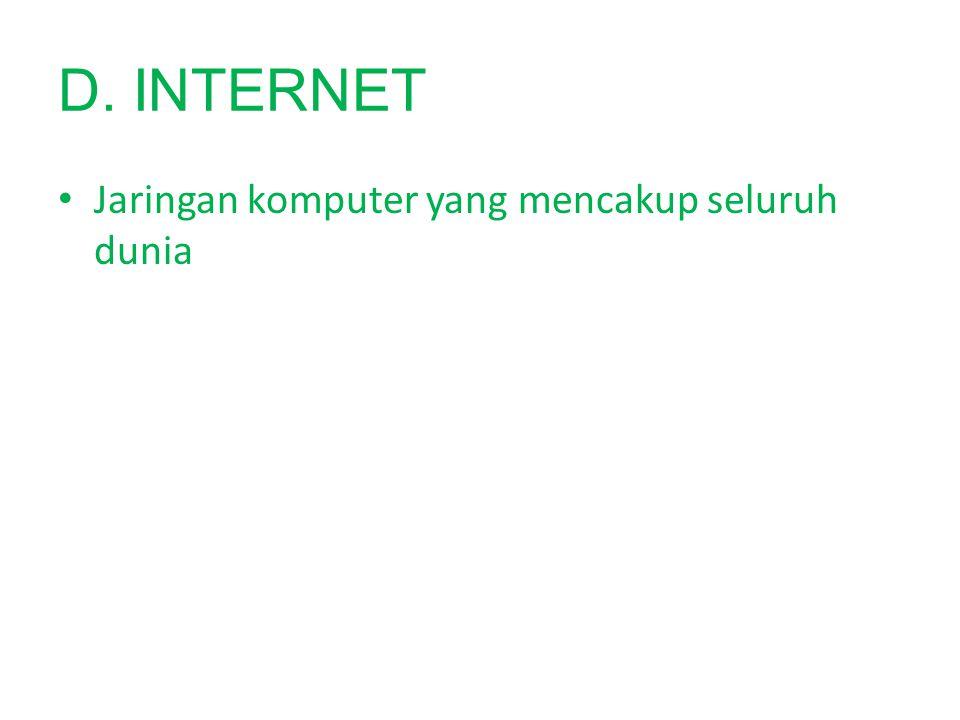 D. INTERNET Jaringan komputer yang mencakup seluruh dunia