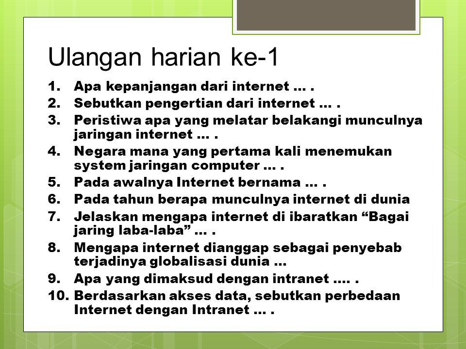 Ulangan harian ke-1 1.Apa kepanjangan dari internet …. 2.Sebutkan pengertian dari internet …. 3.Peristiwa apa yang melatar belakangi munculnya jaringa