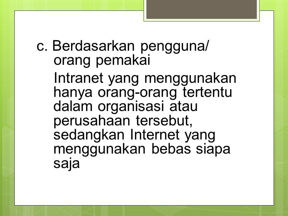 c. Berdasarkan pengguna/ orang pemakai Intranet yang menggunakan hanya orang-orang tertentu dalam organisasi atau perusahaan tersebut, sedangkan Inter