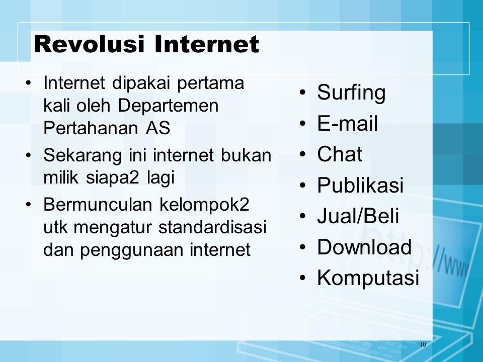10 Revolusi Internet Internet dipakai pertama kali oleh Departemen Pertahanan AS Sekarang ini internet bukan milik siapa2 lagi Bermunculan kelompok2 u