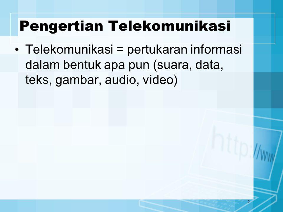 2 Pengertian Telekomunikasi Telekomunikasi = pertukaran informasi dalam bentuk apa pun (suara, data, teks, gambar, audio, video)