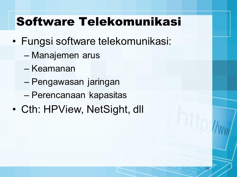 24 Software Telekomunikasi Fungsi software telekomunikasi: –Manajemen arus –Keamanan –Pengawasan jaringan –Perencanaan kapasitas Cth: HPView, NetSight