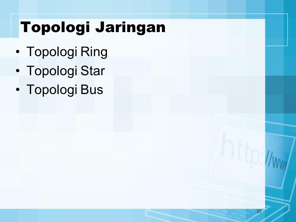 25 Topologi Jaringan Topologi Ring Topologi Star Topologi Bus