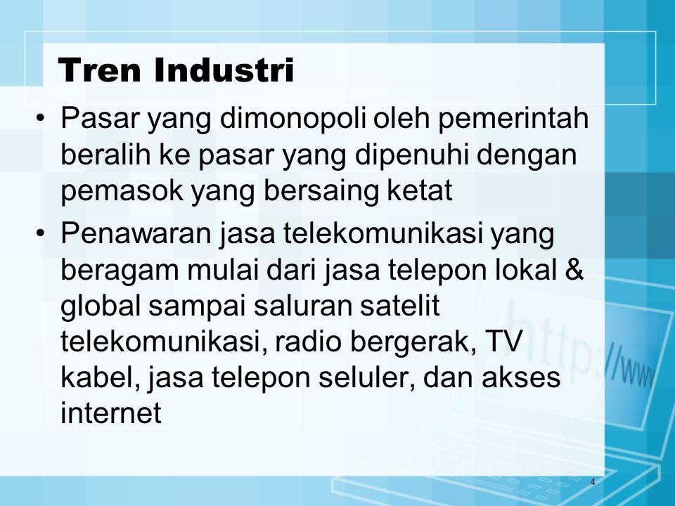 5 Tren Industri Pertumbuhan yang pesat dari Internet dan World Wide Web menimbulkan berbagai produk, jasa dan penyedia telekomunikasi Perusahaan meningkatkan penggunaan Internet dan Web untuk kerja sama dan perdagangan secara elektronik