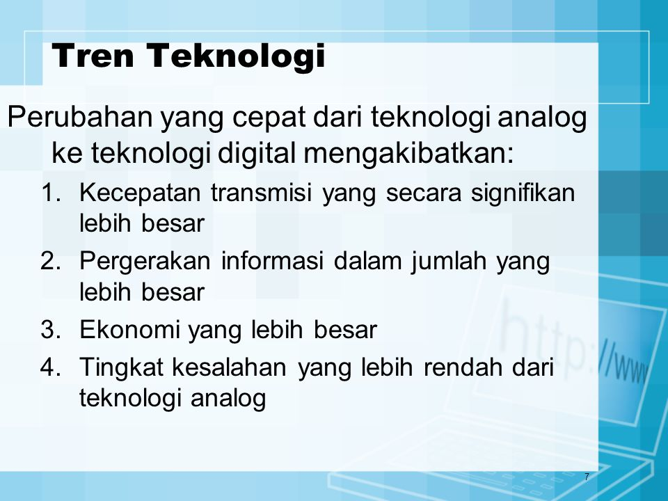 8 Tren Aplikasi Saat ini jaringan telekomunikasi memainkan peran penting dan meluas dalam proses e-business berbasis Web, e-commerce, kerjasama perusahaan, dan aplikasi bisnis lainnya yg mendukung tujuan strategis, manajemen & operasional, baik di perusahaan besar maupun di perusahaan kecil