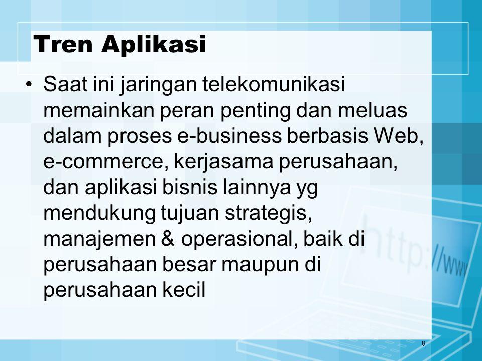 8 Tren Aplikasi Saat ini jaringan telekomunikasi memainkan peran penting dan meluas dalam proses e-business berbasis Web, e-commerce, kerjasama perusa