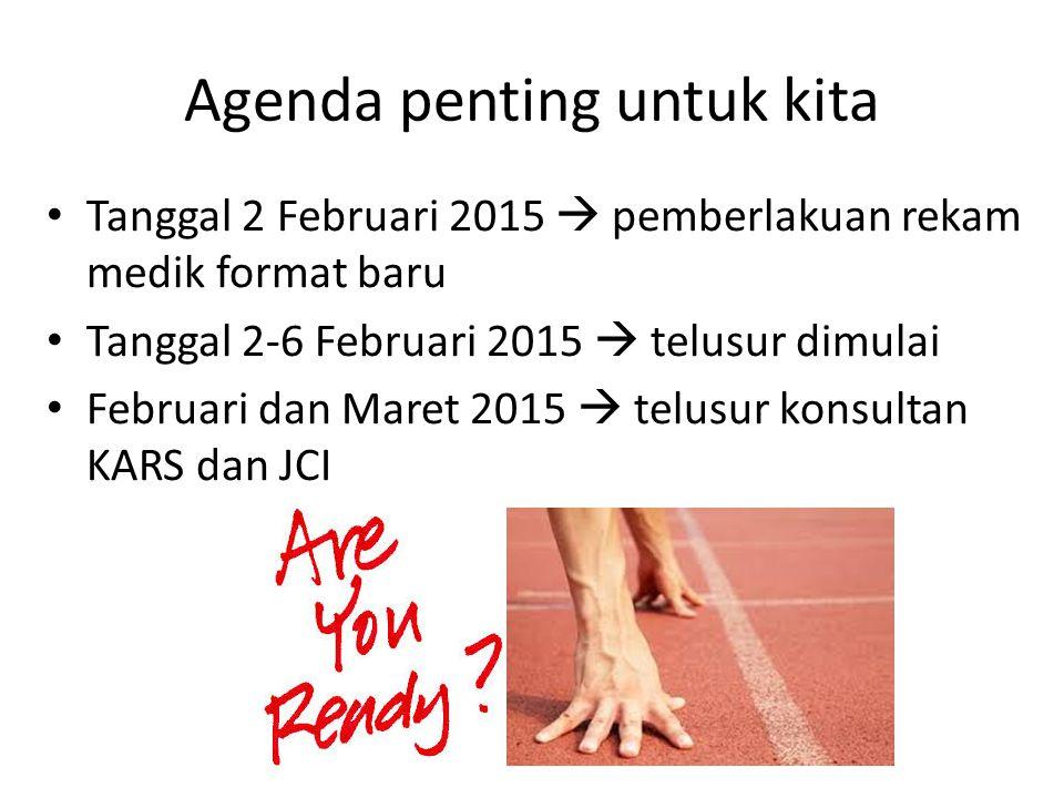Agenda penting untuk kita Tanggal 2 Februari 2015  pemberlakuan rekam medik format baru Tanggal 2-6 Februari 2015  telusur dimulai Februari dan Mare