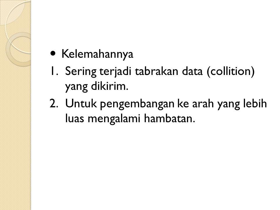 Kelemahannya 1.Sering terjadi tabrakan data (collition) yang dikirim. 2.Untuk pengembangan ke arah yang lebih luas mengalami hambatan.