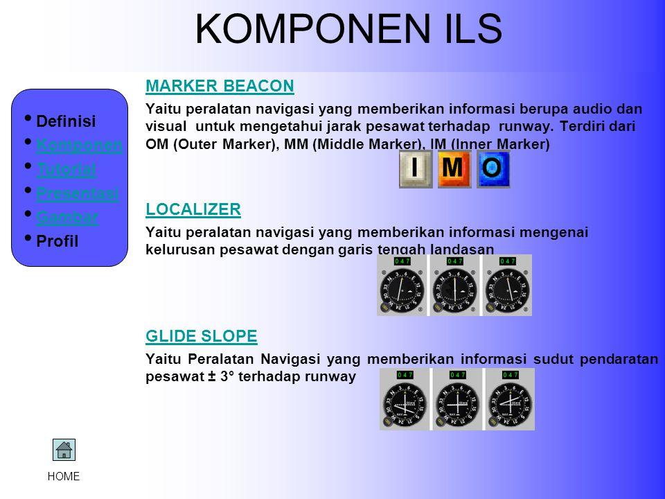 KOMPONEN ILS MARKER BEACON Yaitu peralatan navigasi yang memberikan informasi berupa audio dan visual untuk mengetahui jarak pesawat terhadap runway.