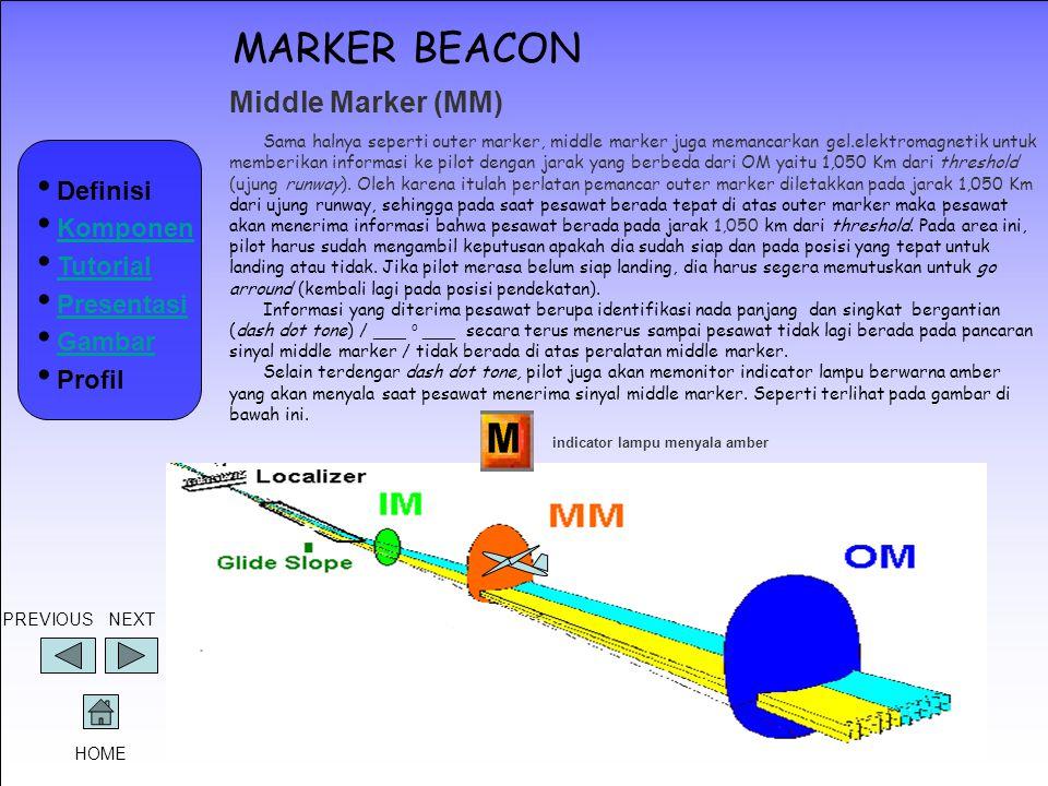 MARKER BEACON Middle Marker (MM) Sama halnya seperti outer marker, middle marker juga memancarkan gel.elektromagnetik untuk memberikan informasi ke pi
