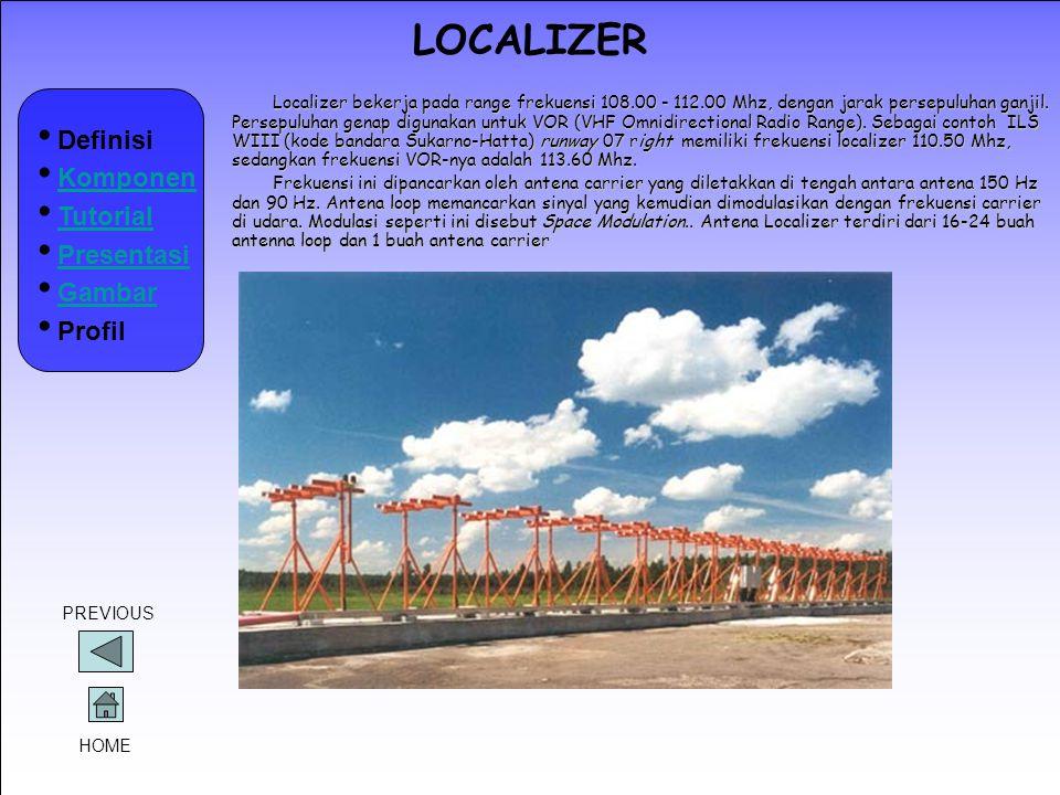 LOCALIZER Localizer bekerja pada range frekuensi 108.00 - 112.00 Mhz, dengan jarak persepuluhan ganjil. Persepuluhan genap digunakan untuk VOR (VHF Om