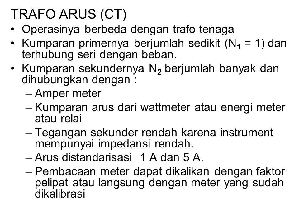 TRAFO ARUS (CT) Operasinya berbeda dengan trafo tenaga Kumparan primernya berjumlah sedikit (N 1 = 1) dan terhubung seri dengan beban. Kumparan sekund