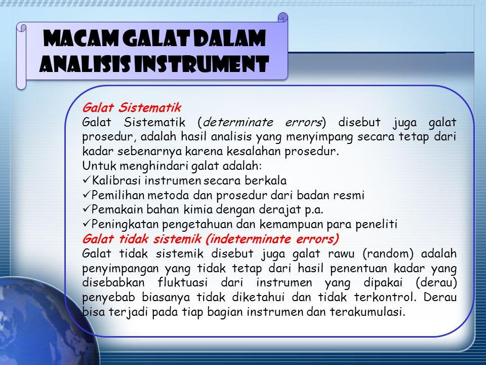 Macam galat dalam analisis instrument Galat Sistematik Galat Sistematik (determinate errors) disebut juga galat prosedur, adalah hasil analisis yang menyimpang secara tetap dari kadar sebenarnya karena kesalahan prosedur.