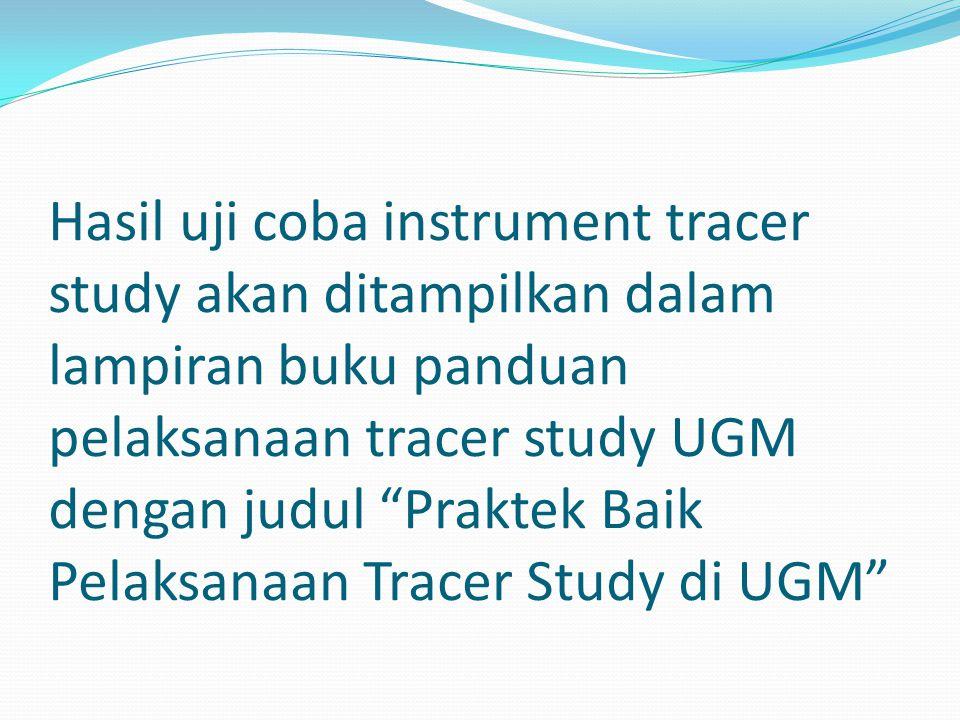 Hasil uji coba instrument tracer study akan ditampilkan dalam lampiran buku panduan pelaksanaan tracer study UGM dengan judul Praktek Baik Pelaksanaan Tracer Study di UGM