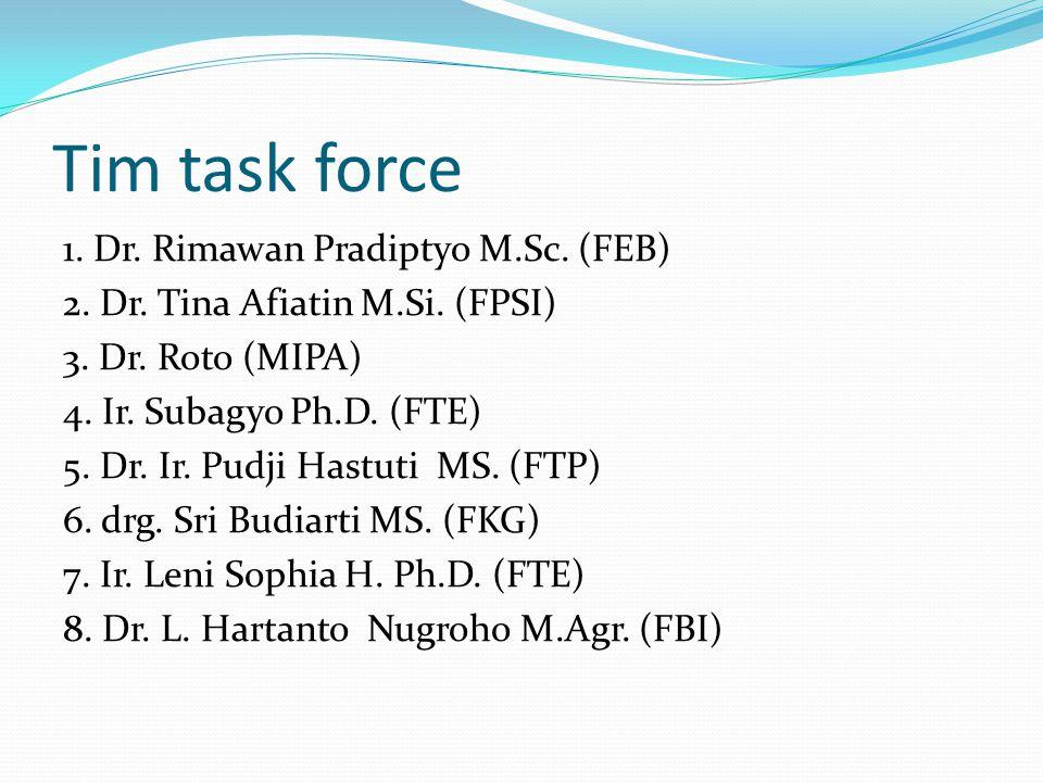 Tim task force 1.Dr. Rimawan Pradiptyo M.Sc. (FEB) 2.