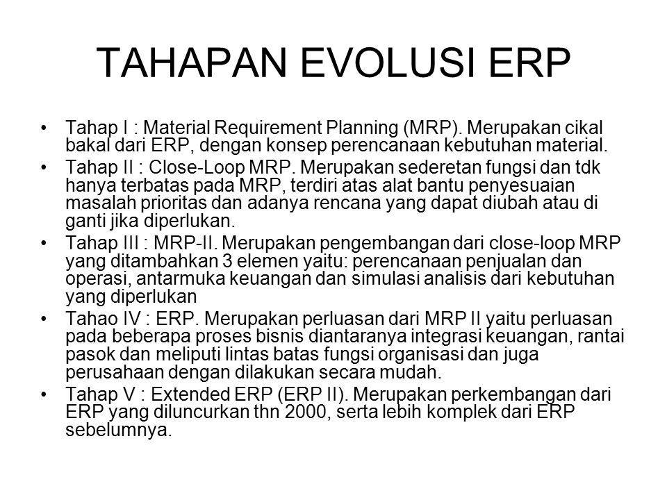TAHAPAN EVOLUSI ERP Tahap I : Material Requirement Planning (MRP). Merupakan cikal bakal dari ERP, dengan konsep perencanaan kebutuhan material. Tahap