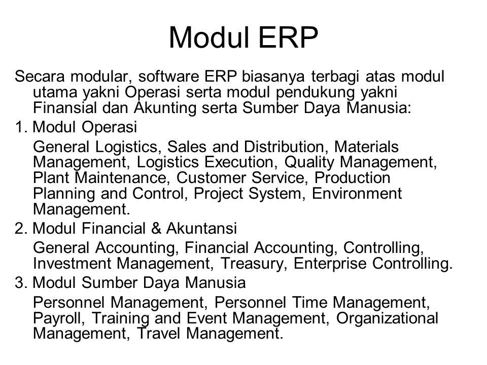 Modul ERP Secara modular, software ERP biasanya terbagi atas modul utama yakni Operasi serta modul pendukung yakni Finansial dan Akunting serta Sumber