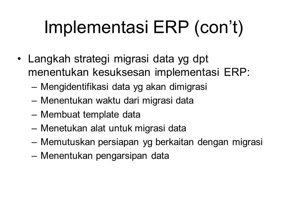 Langkah strategi migrasi data yg dpt menentukan kesuksesan implementasi ERP: –Mengidentifikasi data yg akan dimigrasi –Menentukan waktu dari migrasi d