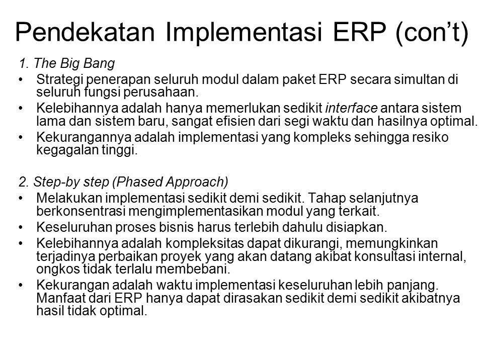 Pendekatan Implementasi ERP (con't) 1. The Big Bang Strategi penerapan seluruh modul dalam paket ERP secara simultan di seluruh fungsi perusahaan. Kel