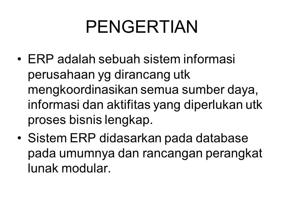 PENGERTIAN (con't) ERP merupakan software yang mengintegrasikan semua departemen dan fungsi suatu perusahaan ke dalam satu sistem komputer yang dapat melayani semua kebutuhan perusahaan, baik dari departemen penjualan, HRD, produksi atau keuangan