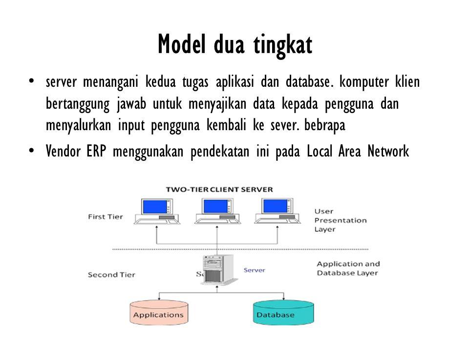 Model dua tingkat server menangani kedua tugas aplikasi dan database. komputer klien bertanggung jawab untuk menyajikan data kepada pengguna dan menya