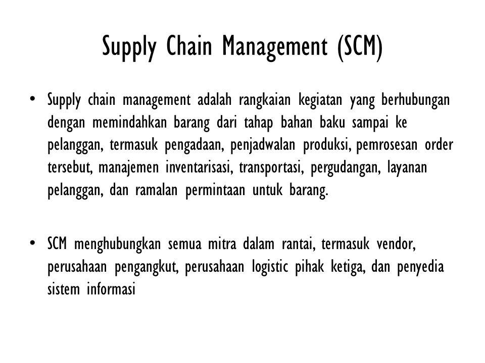 Supply Chain Management (SCM) Supply chain management adalah rangkaian kegiatan yang berhubungan dengan memindahkan barang dari tahap bahan baku sampa