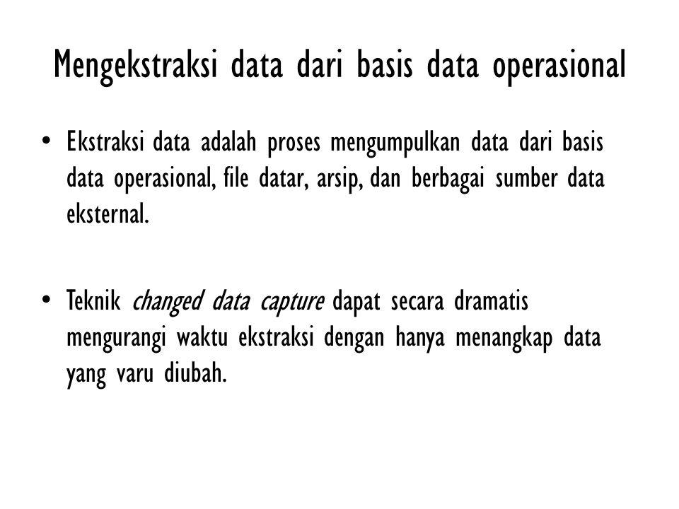 Mengekstraksi data dari basis data operasional Ekstraksi data adalah proses mengumpulkan data dari basis data operasional, file datar, arsip, dan berb