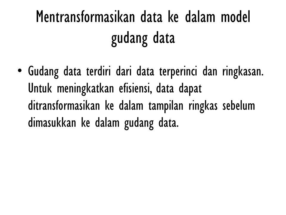 Mentransformasikan data ke dalam model gudang data Gudang data terdiri dari data terperinci dan ringkasan. Untuk meningkatkan efisiensi, data dapat di