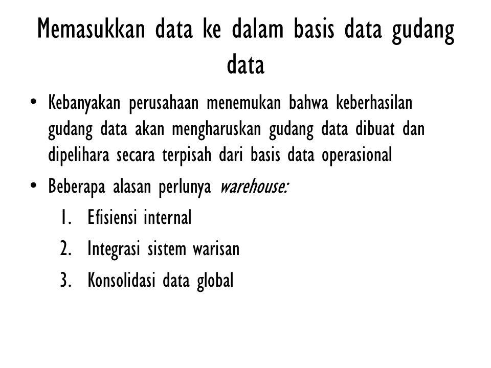 Memasukkan data ke dalam basis data gudang data Kebanyakan perusahaan menemukan bahwa keberhasilan gudang data akan mengharuskan gudang data dibuat da