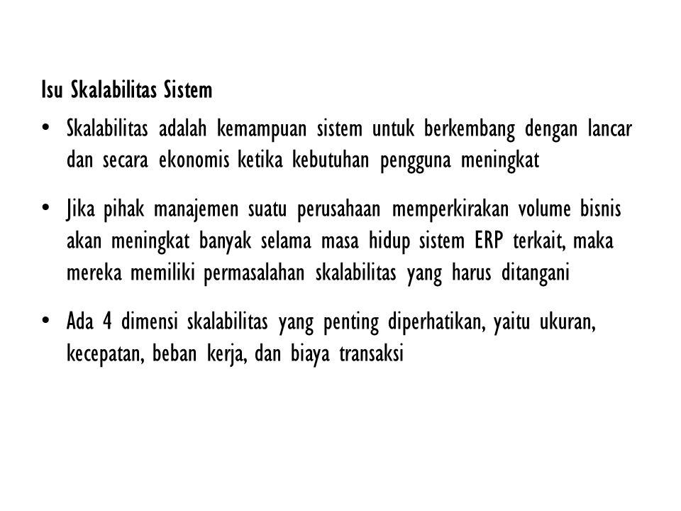 Isu Skalabilitas Sistem Skalabilitas adalah kemampuan sistem untuk berkembang dengan lancar dan secara ekonomis ketika kebutuhan pengguna meningkat Ji