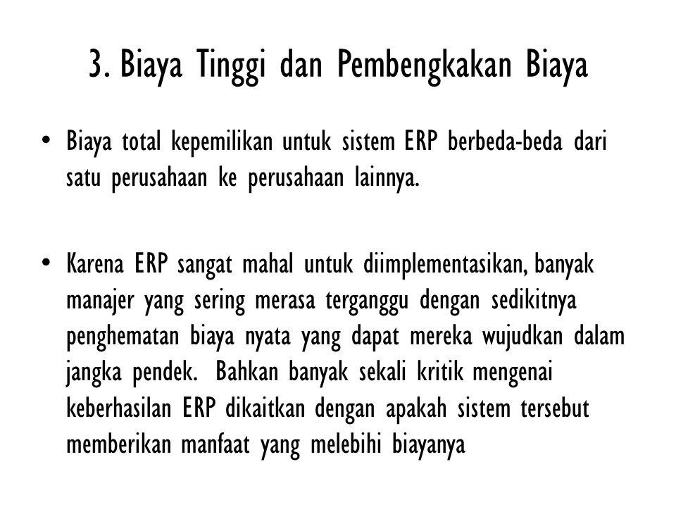 3. Biaya Tinggi dan Pembengkakan Biaya Biaya total kepemilikan untuk sistem ERP berbeda-beda dari satu perusahaan ke perusahaan lainnya. Karena ERP sa