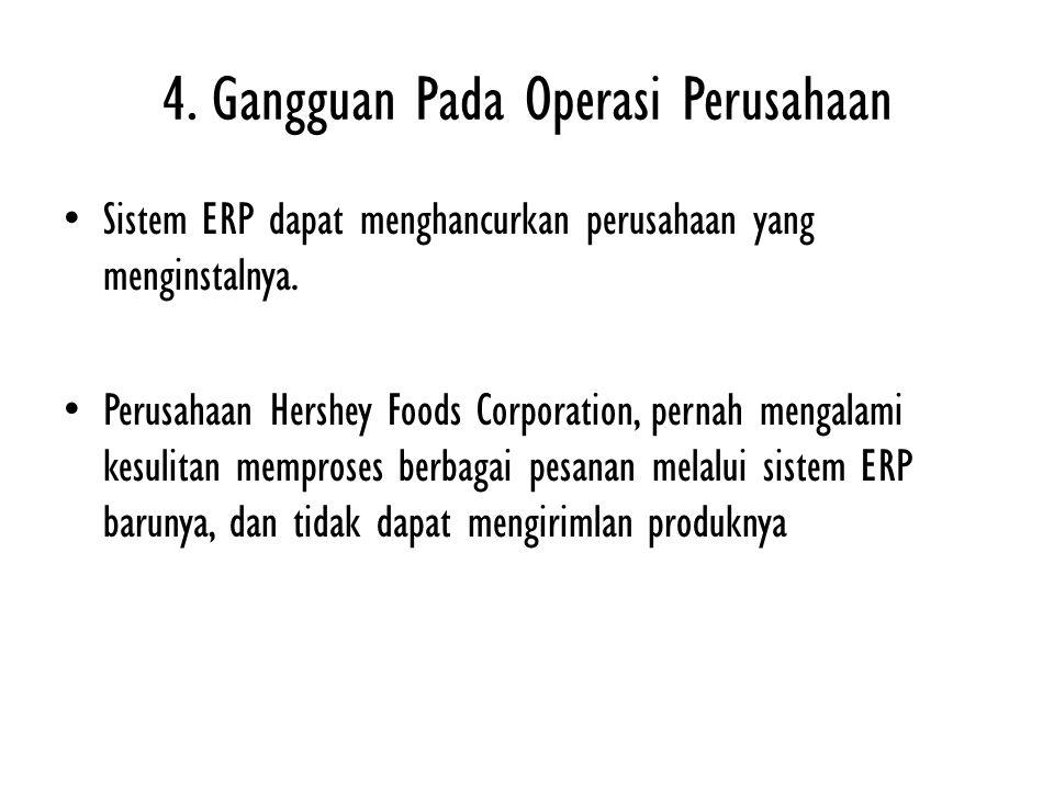 4. Gangguan Pada Operasi Perusahaan Sistem ERP dapat menghancurkan perusahaan yang menginstalnya. Perusahaan Hershey Foods Corporation, pernah mengala