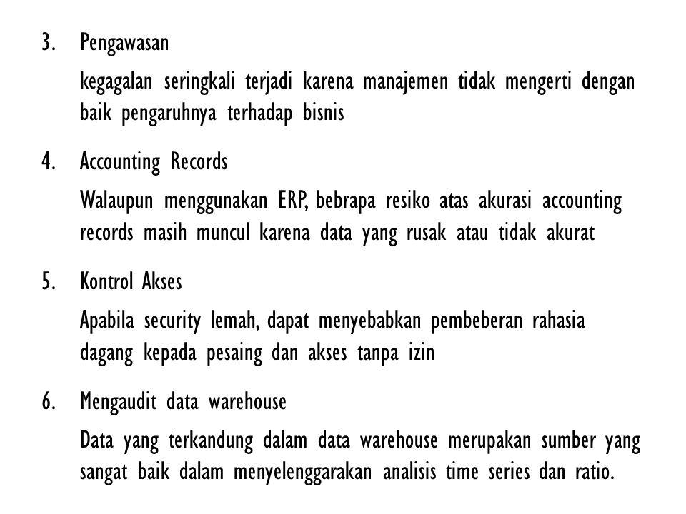 3.Pengawasan kegagalan seringkali terjadi karena manajemen tidak mengerti dengan baik pengaruhnya terhadap bisnis 4.Accounting Records Walaupun menggu