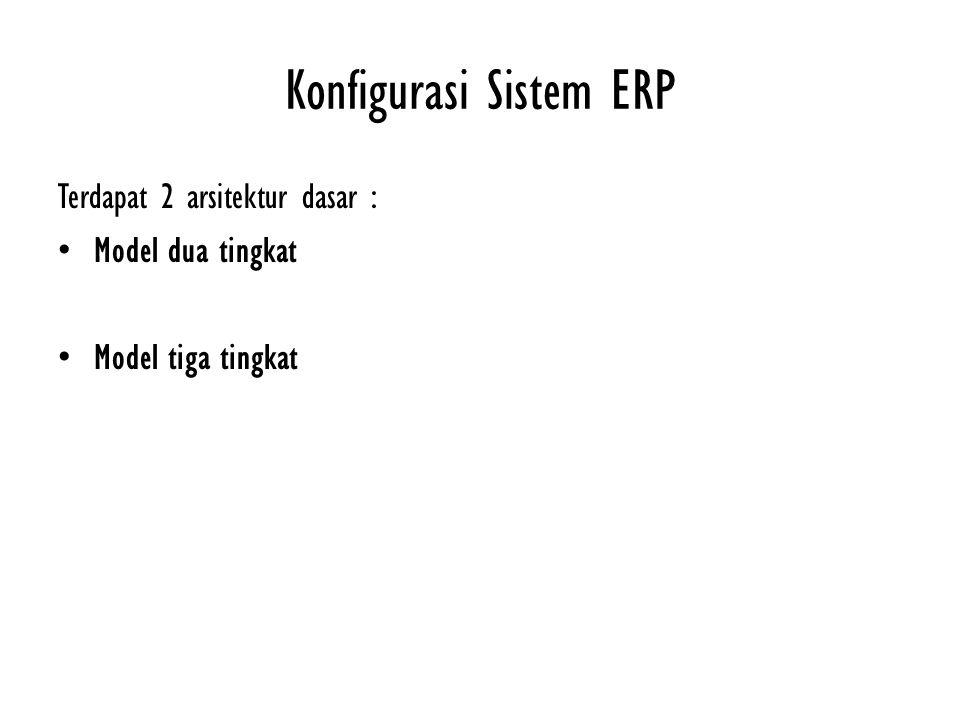 Konfigurasi Sistem ERP Terdapat 2 arsitektur dasar : Model dua tingkat Model tiga tingkat