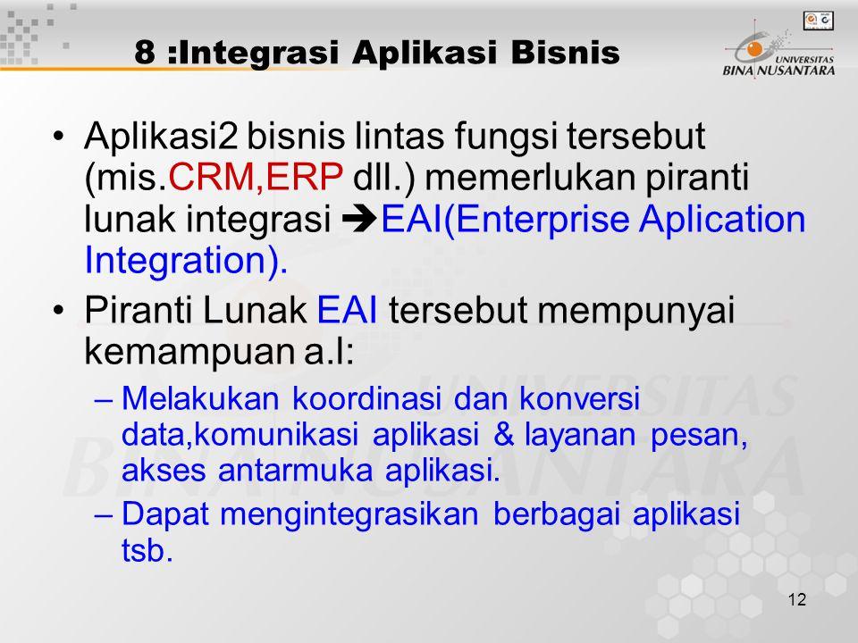 12 8 :Integrasi Aplikasi Bisnis Aplikasi2 bisnis lintas fungsi tersebut (mis.CRM,ERP dll.) memerlukan piranti lunak integrasi  EAI(Enterprise Aplicat