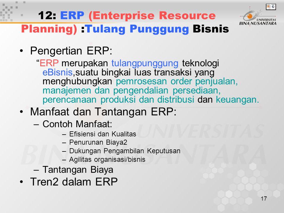 """17 12: ERP (Enterprise Resource Planning) :Tulang Punggung Bisnis Pengertian ERP: """"ERP merupakan tulangpunggung teknologi eBisnis,suatu bingkai luas t"""