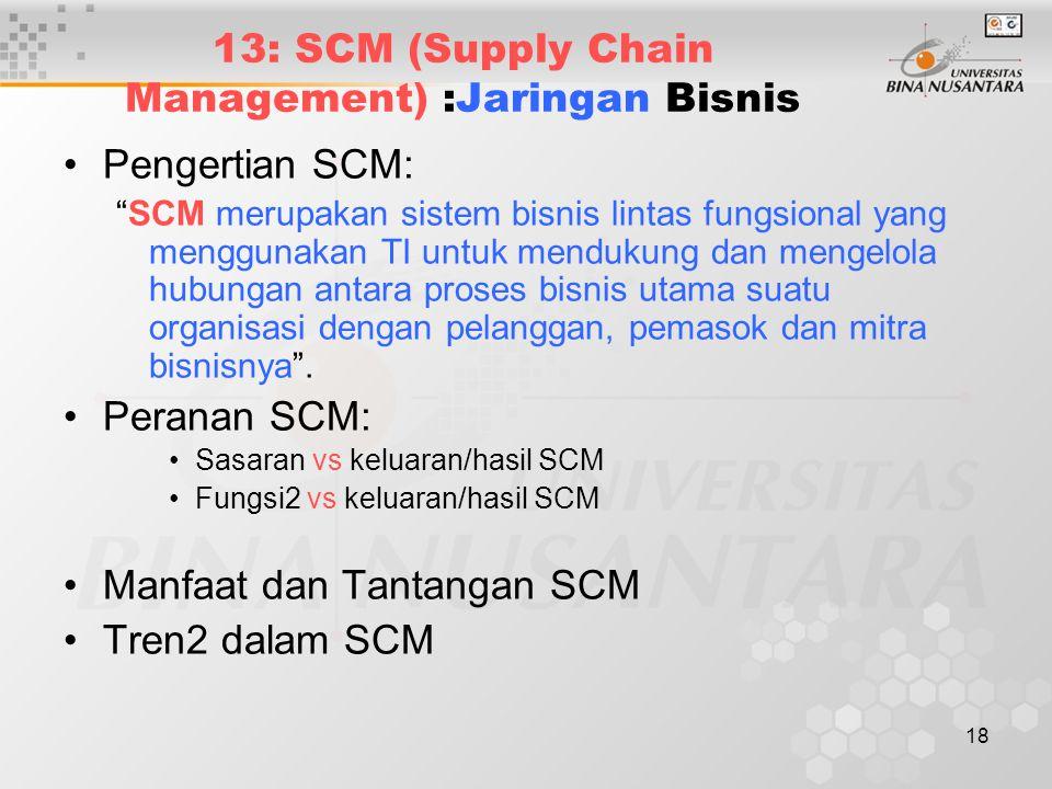 """18 13: SCM (Supply Chain Management) :Jaringan Bisnis Pengertian SCM: """"SCM merupakan sistem bisnis lintas fungsional yang menggunakan TI untuk menduku"""