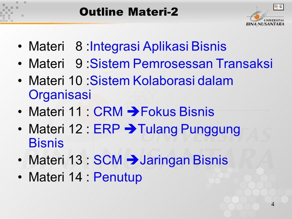 4 Outline Materi-2 Materi 8 :Integrasi Aplikasi Bisnis Materi 9 :Sistem Pemrosessan Transaksi Materi 10 :Sistem Kolaborasi dalam Organisasi Materi 11
