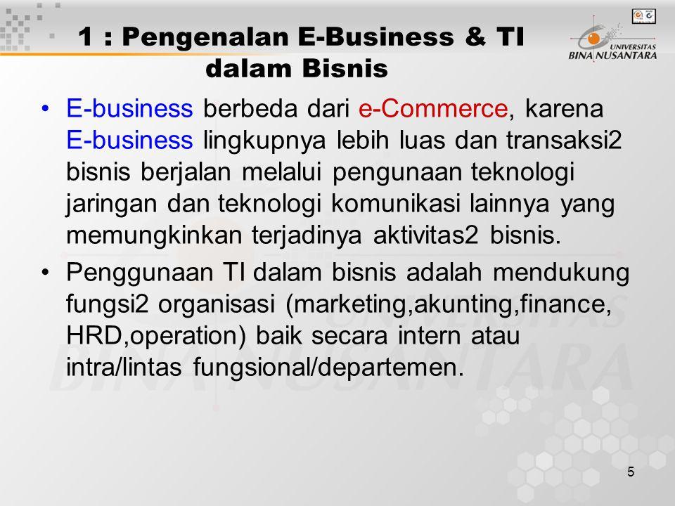 5 1 : Pengenalan E-Business & TI dalam Bisnis E-business berbeda dari e-Commerce, karena E-business lingkupnya lebih luas dan transaksi2 bisnis berjal