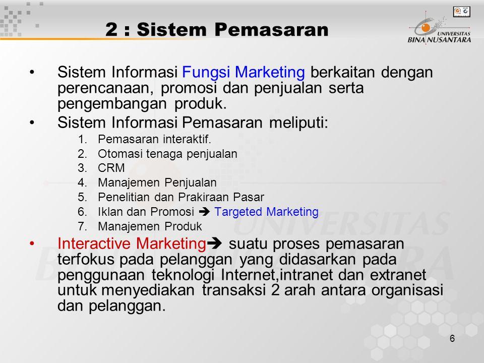 6 2 : Sistem Pemasaran Sistem Informasi Fungsi Marketing berkaitan dengan perencanaan, promosi dan penjualan serta pengembangan produk. Sistem Informa