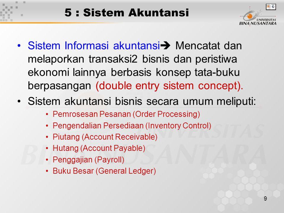 9 5 : Sistem Akuntansi Sistem Informasi akuntansi  Mencatat dan melaporkan transaksi2 bisnis dan peristiwa ekonomi lainnya berbasis konsep tata-buku