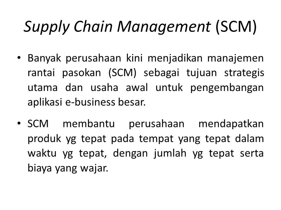 Supply Chain Management (SCM) Banyak perusahaan kini menjadikan manajemen rantai pasokan (SCM) sebagai tujuan strategis utama dan usaha awal untuk pen
