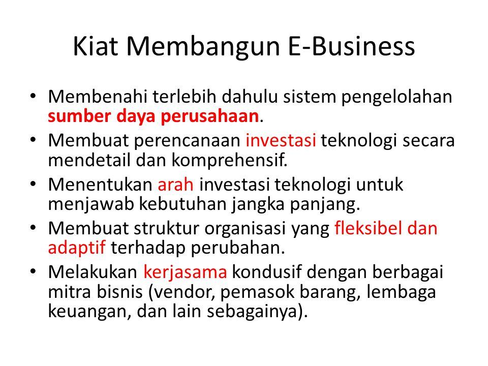 Kiat Membangun E-Business Membenahi terlebih dahulu sistem pengelolahan sumber daya perusahaan. Membuat perencanaan investasi teknologi secara mendeta