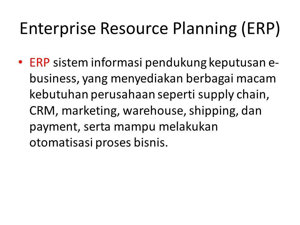 Enterprise Resource Planning (ERP) ERP sistem informasi pendukung keputusan e- business, yang menyediakan berbagai macam kebutuhan perusahaan seperti