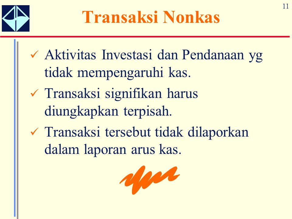 11 Transaksi Nonkas Aktivitas Investasi dan Pendanaan yg tidak mempengaruhi kas. Transaksi signifikan harus diungkapkan terpisah. Transaksi tersebut t