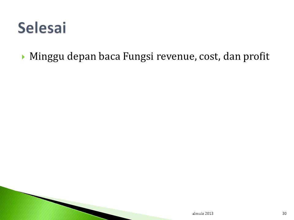  Minggu depan baca Fungsi revenue, cost, dan profit almuiz 201330