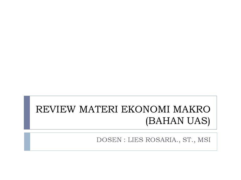REVIEW MATERI EKONOMI MAKRO (BAHAN UAS) DOSEN : LIES ROSARIA., ST., MSI