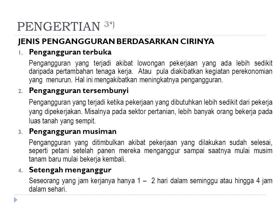 PENGERTIAN 3*) JENIS PENGANGGURAN BERDASARKAN CIRINYA 1. Pengangguran terbuka Pengangguran yang terjadi akibat lowongan pekerjaan yang ada lebih sedik