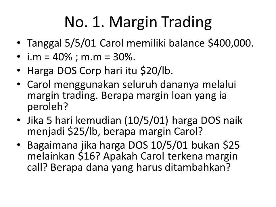 No. 1. Margin Trading Tanggal 5/5/01 Carol memiliki balance $400,000.