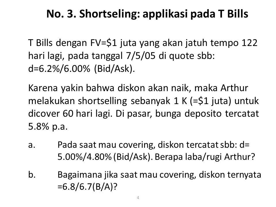 4 T Bills dengan FV=$1 juta yang akan jatuh tempo 122 hari lagi, pada tanggal 7/5/05 di quote sbb: d=6.2%/6.00% (Bid/Ask).